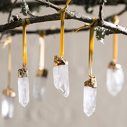 Christmas gold and silver tipped quartz stone hanging tree ornament