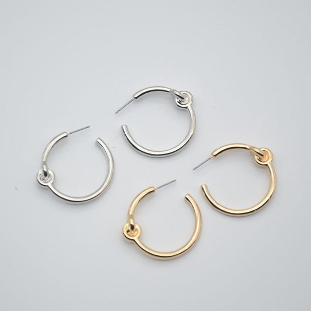 Nautical Knot Gold and Silver Classic Hoops