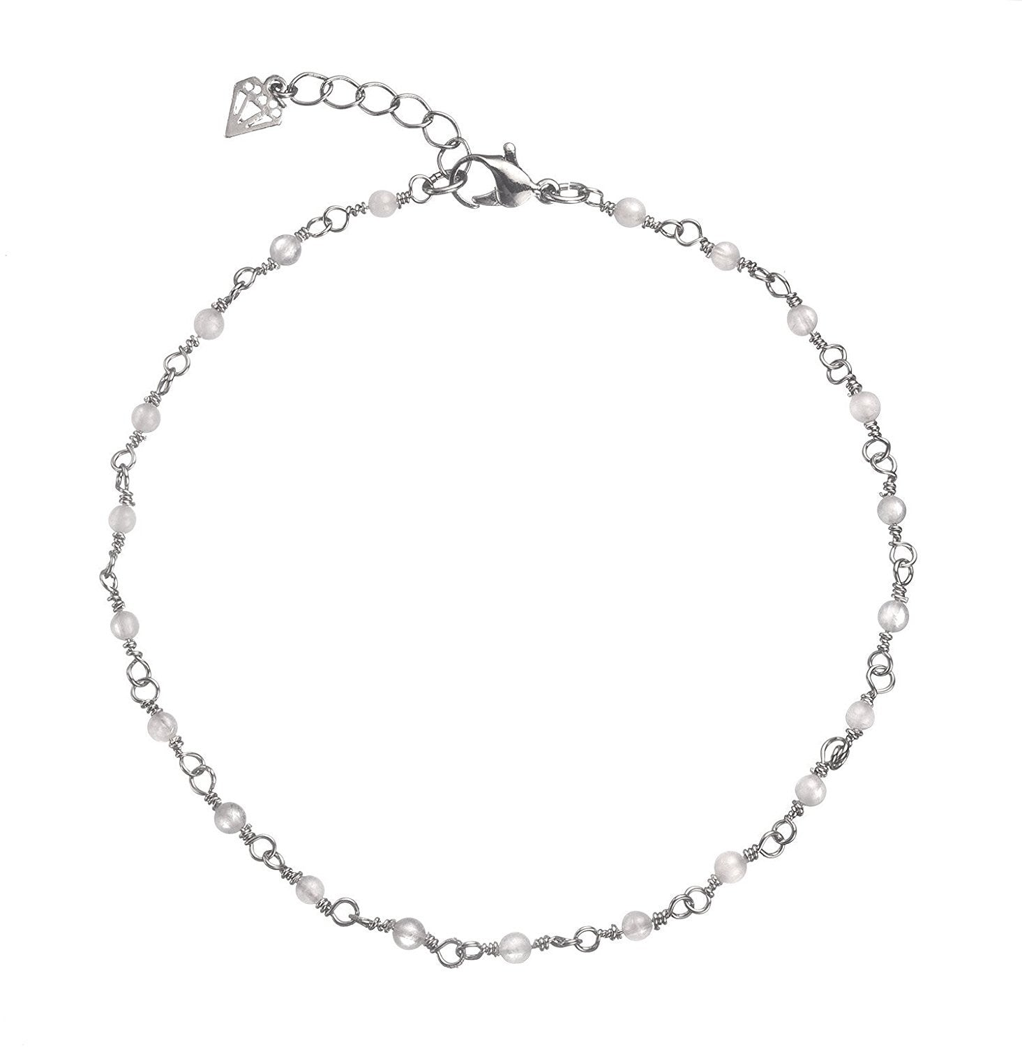 Moonstone Anklet (rhodium-plated-base-metal)
