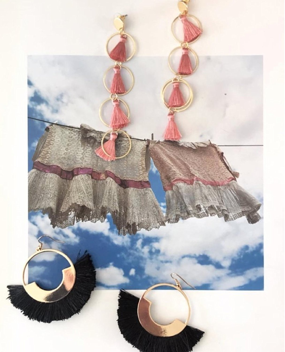 Blush Pink and Gold - Tassel Hoop Drop Earring