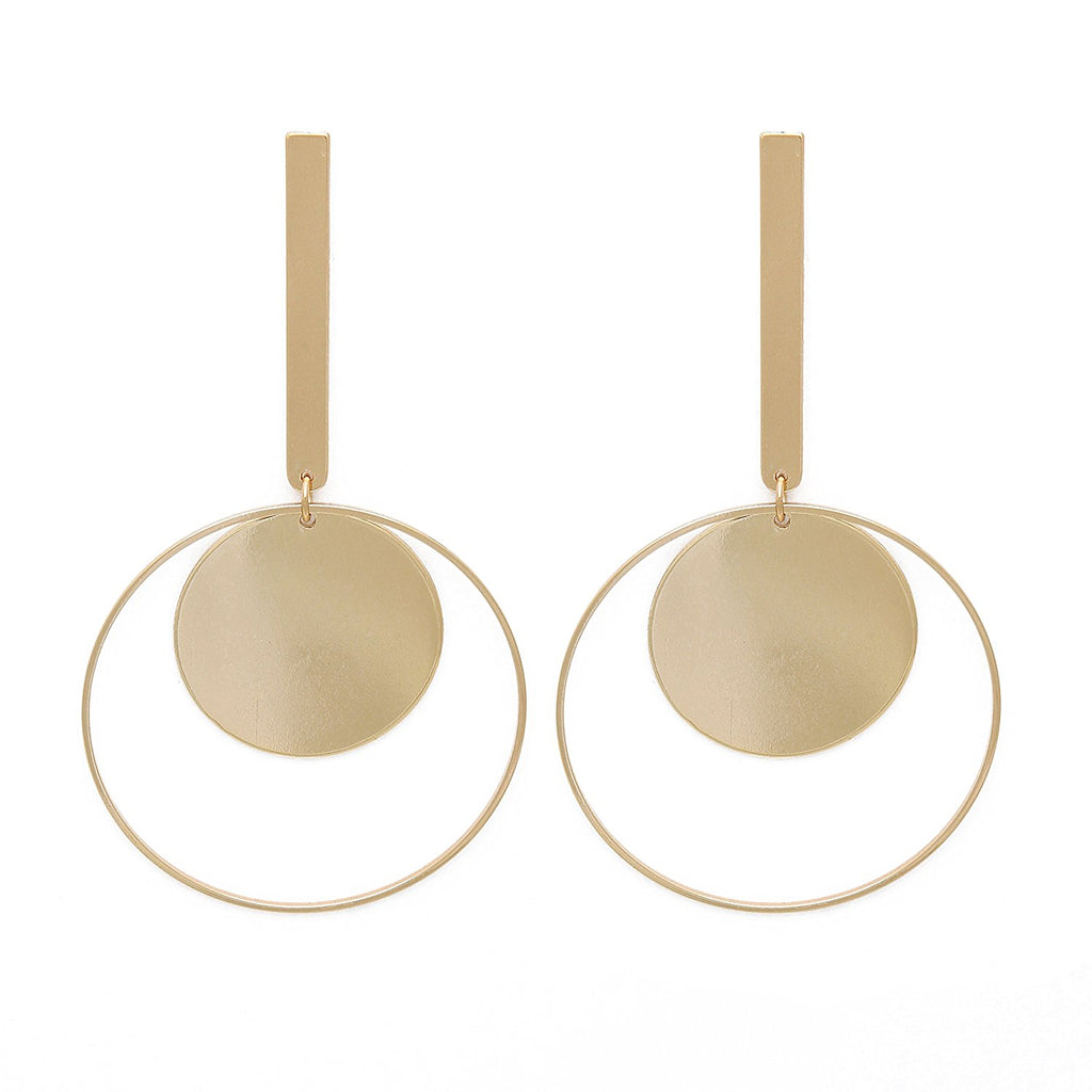 Bar disc hoop gold drop statement earring