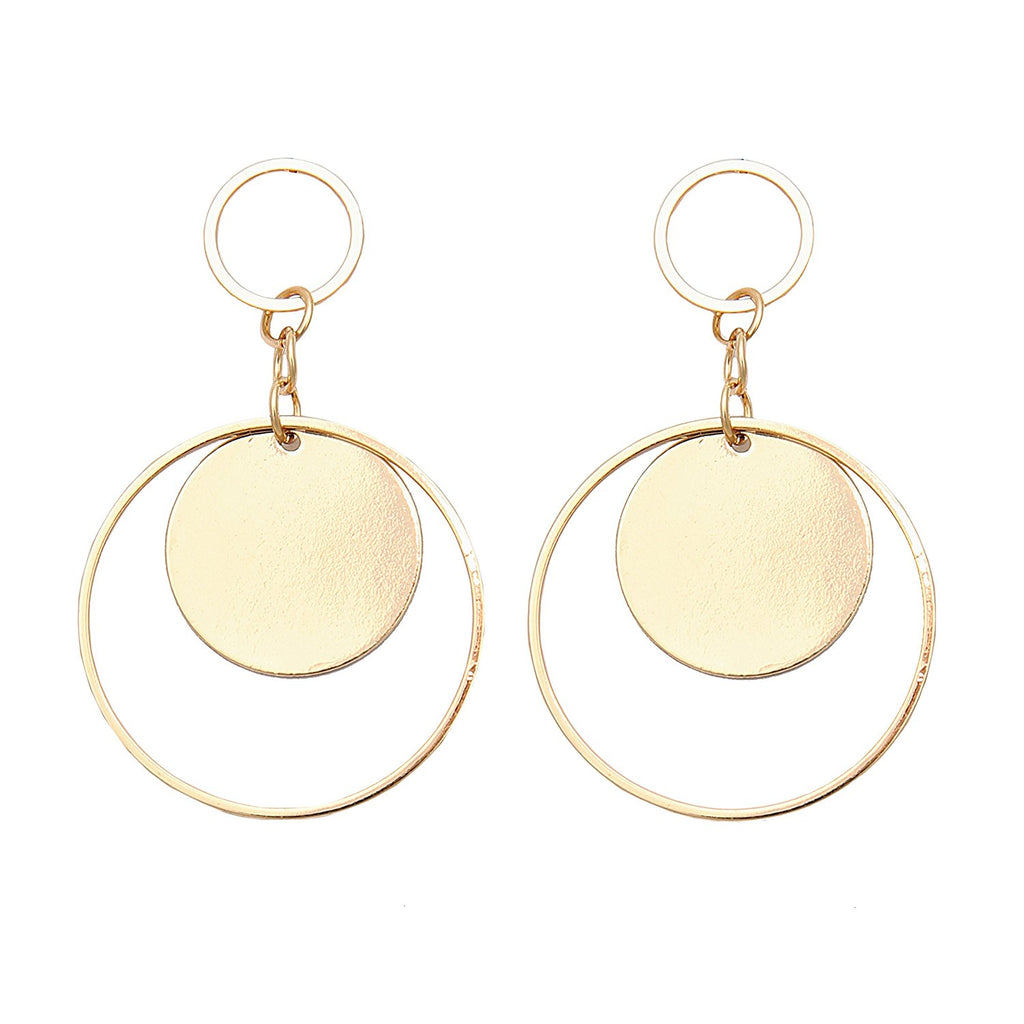 Everyday dangle geometric disc hoop earring