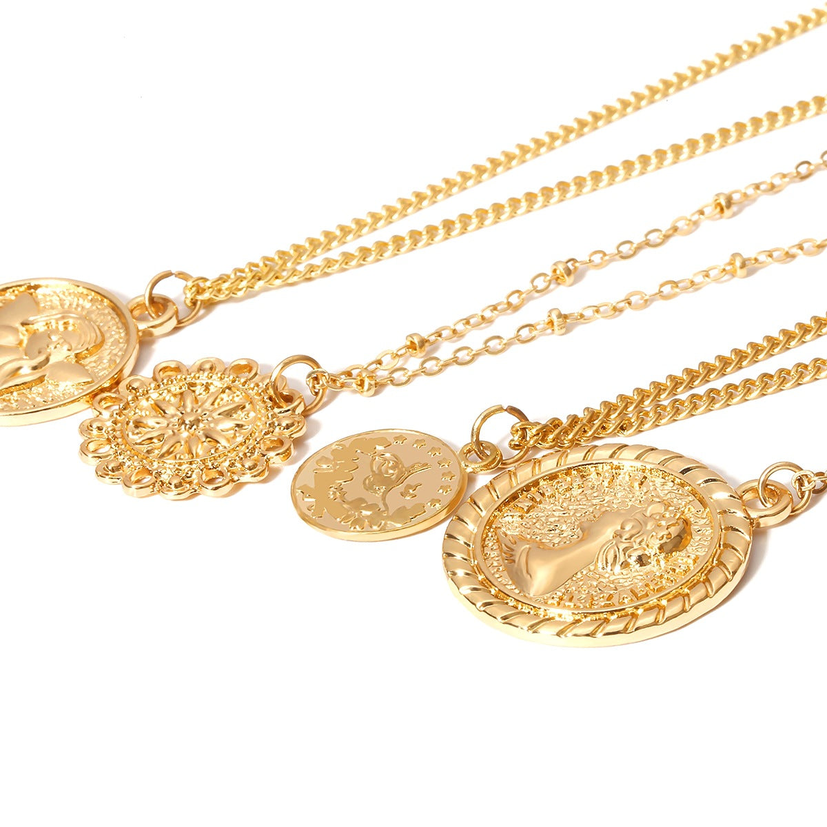 Zarni - Layered Beaded Gold Coin Necklace