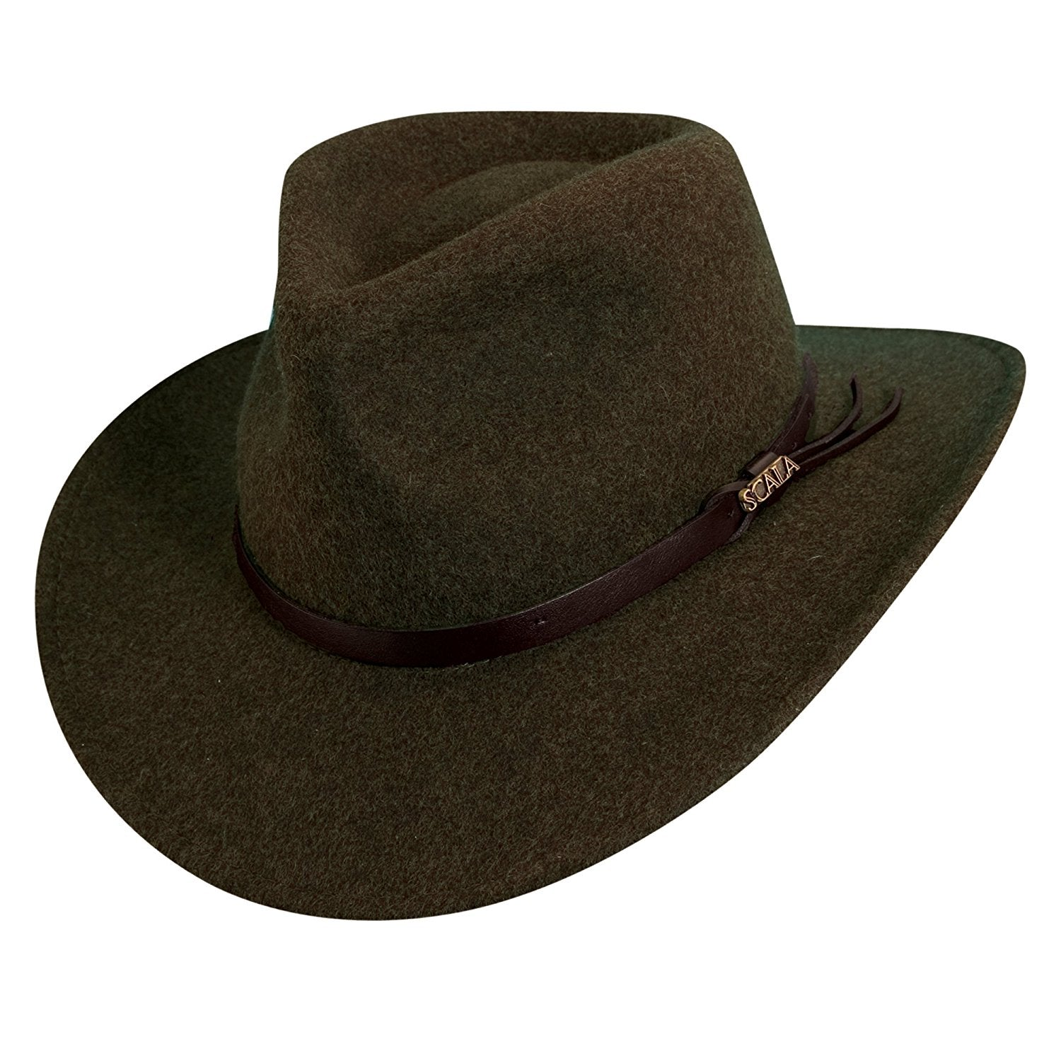 b8e70b6f New Scala Classico crush-able water repellent brown wool felt outback hat  (DF49)