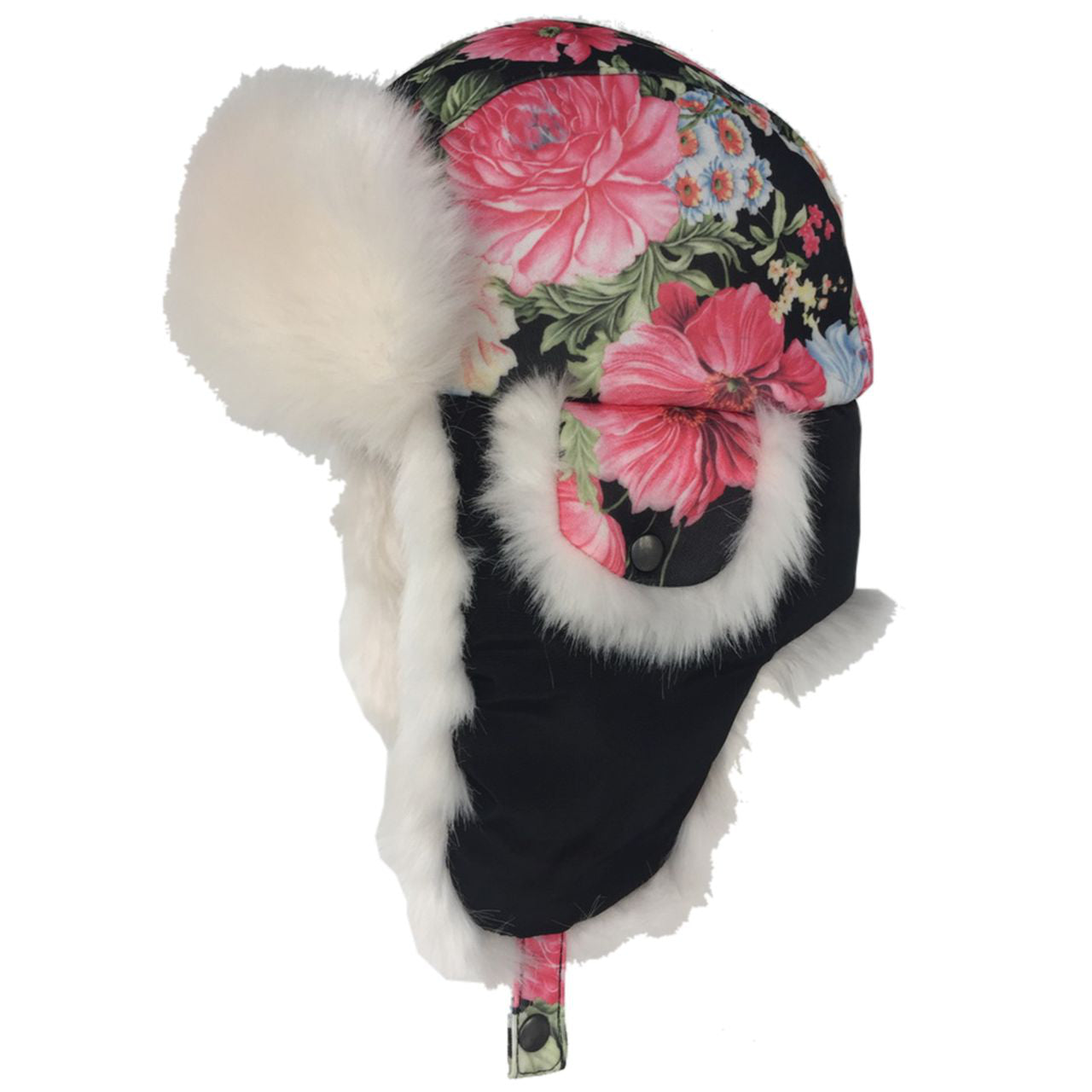 850220604 Scala Pronto Handmade Since 1921 Floral Ladies Trooper Trapper Faux Fur  Lined Earflaps (LW713)