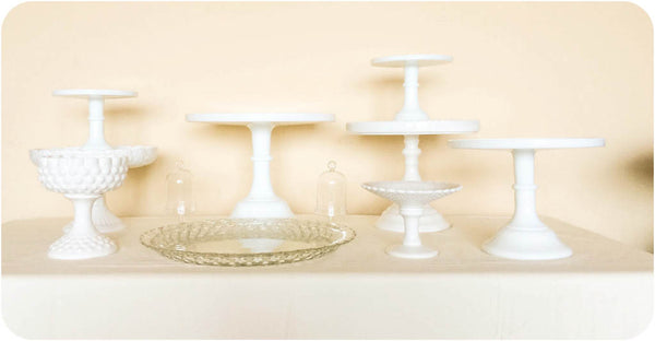 Classic Milk White Dessert Stand Collection - Julia's Cake Stand Rentals