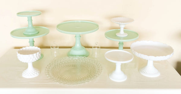 Jadeite Green Cake and Dessert Stands, Top View