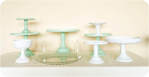 Jadeite Green Cake and Dessert Stands - Julia's Cake Stand Rentals