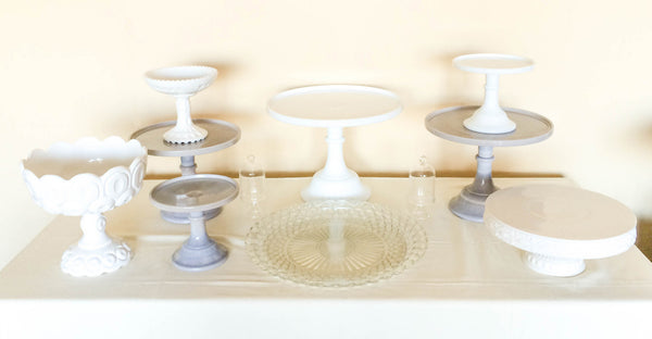 Marble Gray Cake Stands, Top View