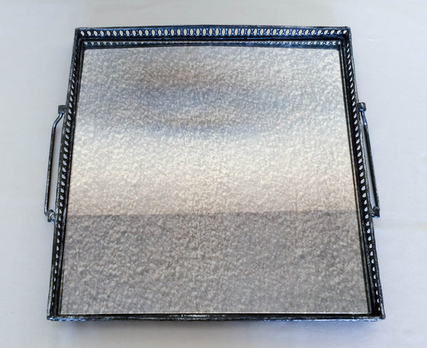 "15""w Square Mirrored Tray with handles, Top View"