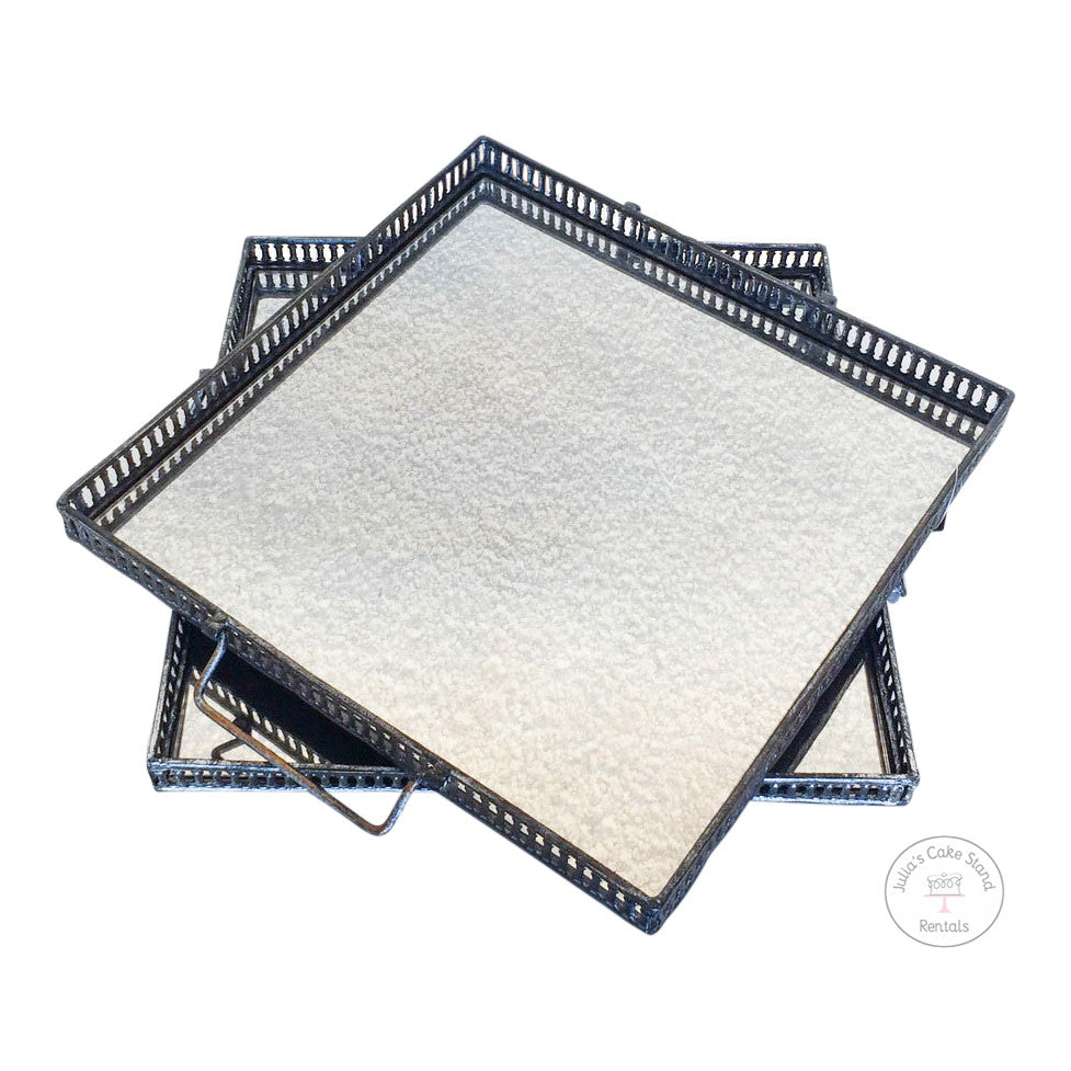 "15""w Square Mirrored Trays with handles"