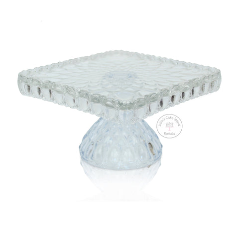 Crystal Clear Square Glass Cake Stand - angle view
