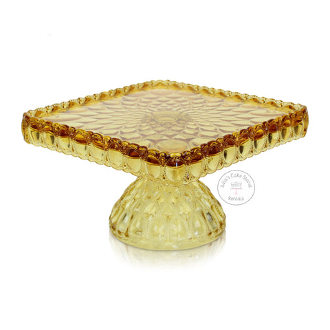 Amber glass square cake stand - angle view