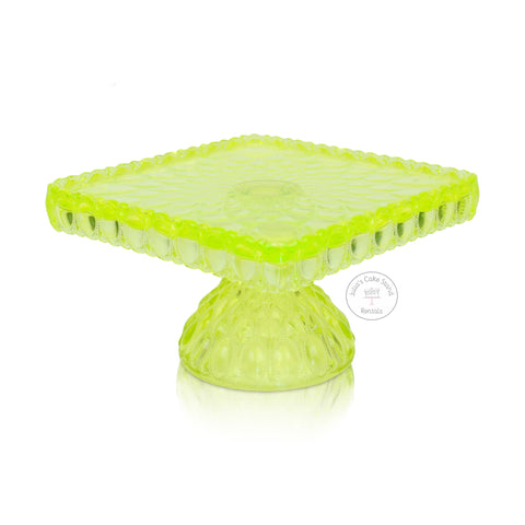 Yellow Square Glass Cake Stand - angle view