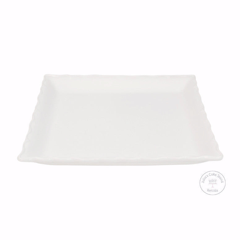 White Square Platter, side view - Julia's Cake Stand Rentals