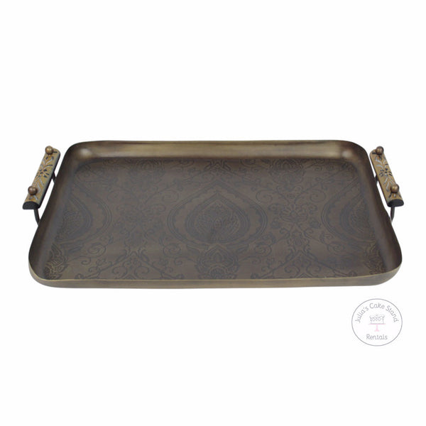 "Desert Paisely Etched Metal Tray, 13""x18"""