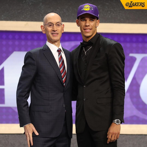 Lonzo Ball joins LA Lakers at NBA Draft 2017 wearing Giovanni Testi
