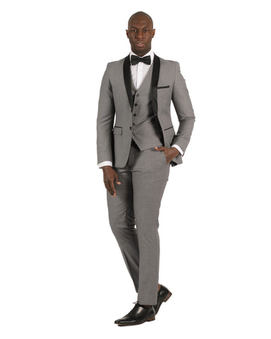 2 Button Shawl Lapel Light Grey Slim Fit Suit FF2SSX+V-1230