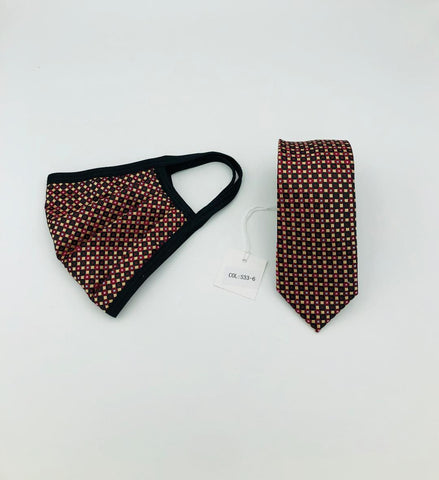 Face Mask & Tie Set S33-6 Burgandy