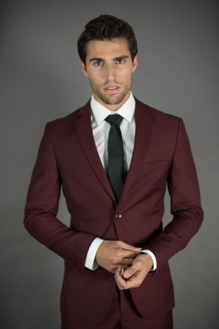 2 Button Notch Lapel Slim Fit Suit FF2SV-4030 Burgundy