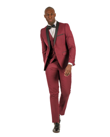 2 Button Shawl Lapel Burgundy Slim Fit Suit FF2SSX+V-1230