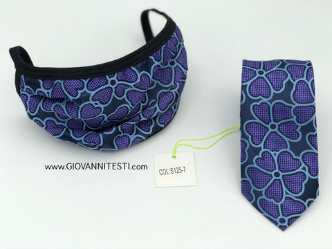 Face Mask & Tie Set S125-7, Navy / Purple