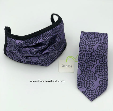 Face Mask & Tie Set S125-3, Purple