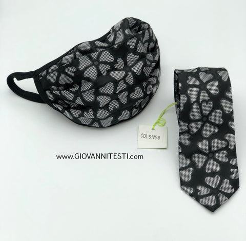 Face Mask & Tie Set S125-8, Black / Grey