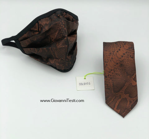Face Mask & Tie Set S117-3, Brown