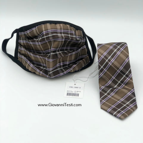 Face Mask & Tie Set S60-3, Beige / Brown Plaid