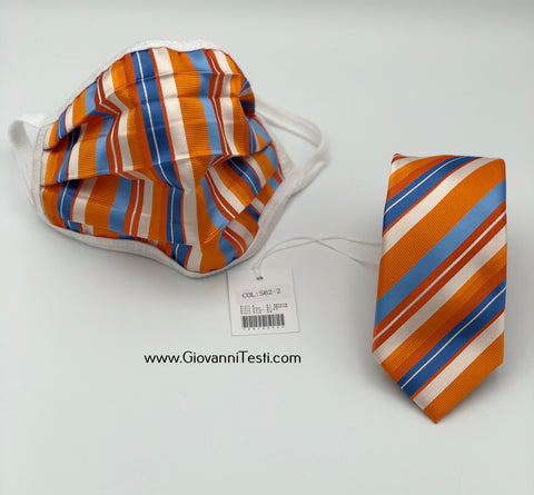 Face Mask & Tie Set S62-2, Orange / Blue Stripes