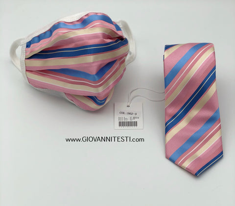 Face Mask & Tie Set S62-3, Pink / Blue Stripes