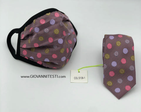 Face Mask & Tie Set S138-1, Pink Dot