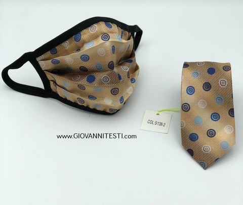 Face Mask & Tie Set S138-2, Beige Dot