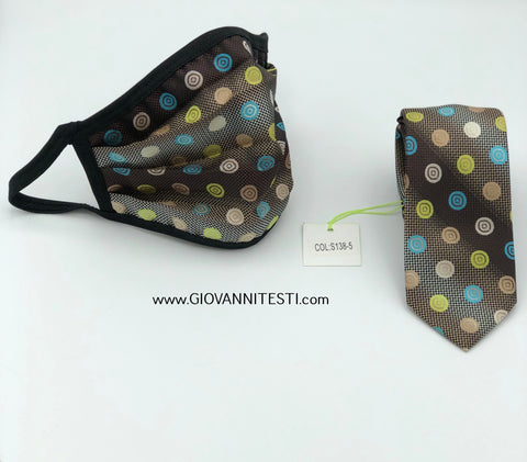 Face Mask & Tie Set S138-5, Olive Green Dot