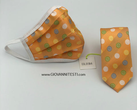 Face Mask & Tie Set S138-6, Orange Dot