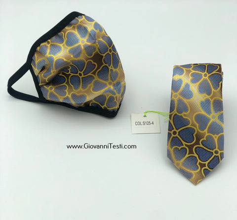 Face Mask & Tie Set S125-4, Navy / Gold