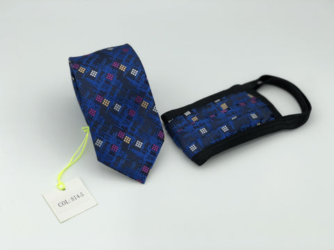 Face Mask & Tie Set S14-5, Blue