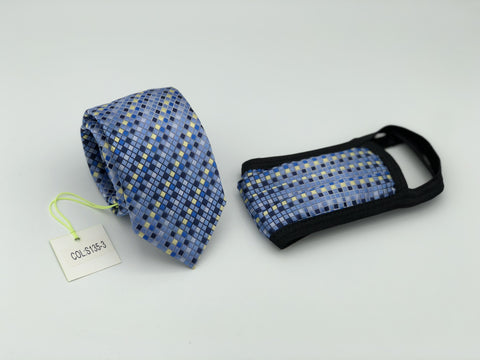 Face Mask & Tie Set S135-3, Blue Checkered