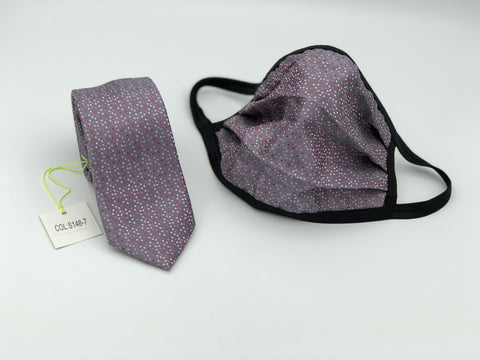 Face Mask & Tie Set S148-7, Grey Dot