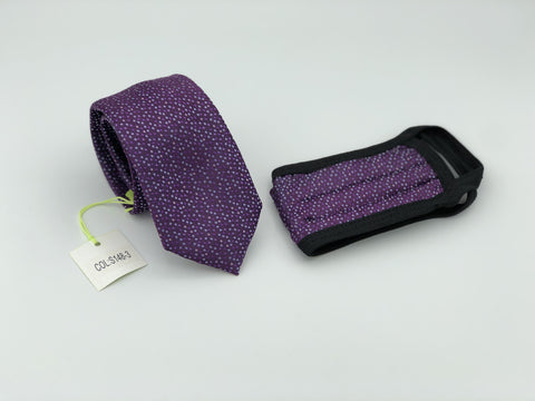Face Mask & Tie Set S148-3, Purple Dot