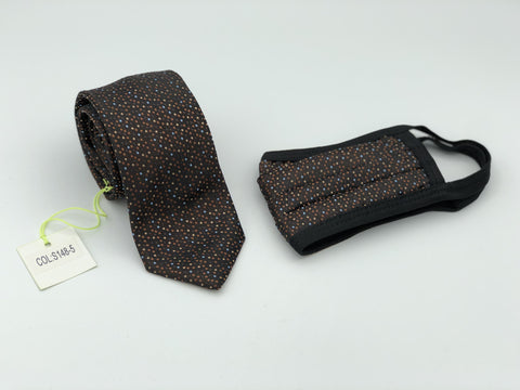 Face Mask & Tie Set S148-5, Brown Dot
