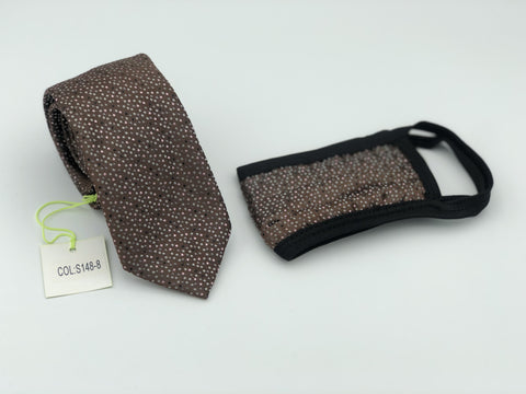 Face Mask & Tie Set S148-8, Brown Dot