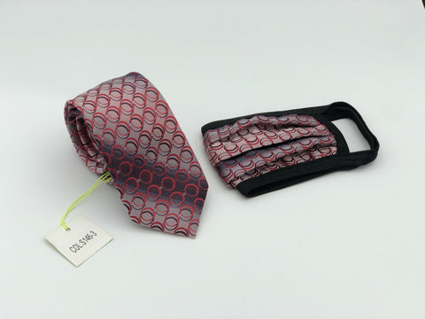 Face Mask & Tie Set S146-3, Red Circles