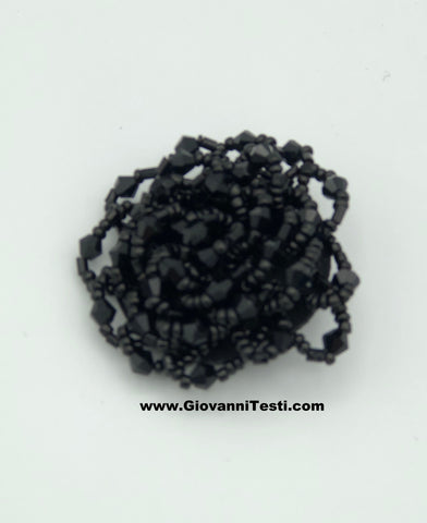 GT-Pin Black Beaded Flower