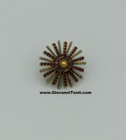 GT-Pin Red / Gold Flower
