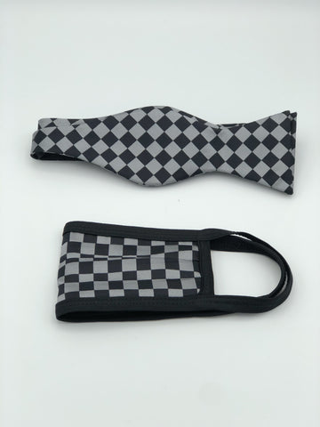 Self Bow Tie & Face Mask Set, Grey Checkered