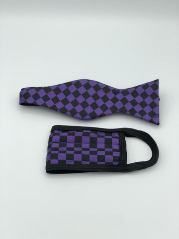 Self Bow Tie & Face Mask Set, Purple Checkered BT13-3