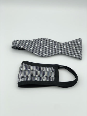 Self Bow Tie & Face Mask Set, Grey Dot BT11-2