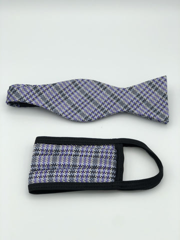 Self Bow Tie & Face Mask Set, Lavender Plaid BT12-1